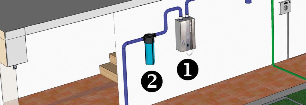 Fragmento instalación residencial, puntos 1 y 2