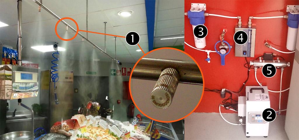 Instalación antical con nebulizadores de agua