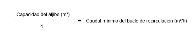 Cálculo de caudal para instalación en recirculación